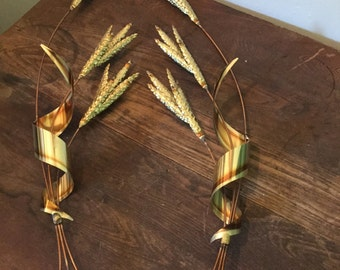 Pair Vintage Brass Copper Metal Wheat Wall Sculpture Mid Century Hanging 32""