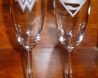 Toasting Champagne Flutes, Super Hero Couple (CHOOSE 2 HEROES), Wedding Flutes, Champagne Flutes, Celebration
