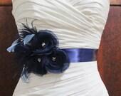 Navy Blue Bridal Sash, Navy Blue Bridal Sash, Navy Blue Wedding, Navy Blue Bridal Accessories, Navy Blue Wedding Sash Belt,  Madison