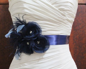 Navy Blue Bridal Sash, Navy Blue Bridal Sash, Navy Blue Wedding, Navy Blue Bridal Accessories, Navy Blue Wedding Sash Belt,  Madison