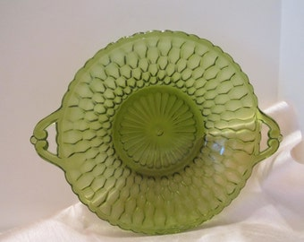 Green Glass Bowl - Vintage Glass Serving Bowl - Round Decorative Green Glass Bowl - Honeycomb Design Glass Bowl with Handles - Candy Dish