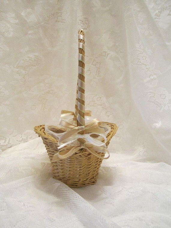 Flower Girl Basket - Woven Wicker Basket - Natural/Ivory Color Theme - Wedding Ready - One of a Kind OOAK