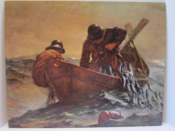 Fishermen at Sea Lithograph on Mat Board by Homer titled The Herring Net