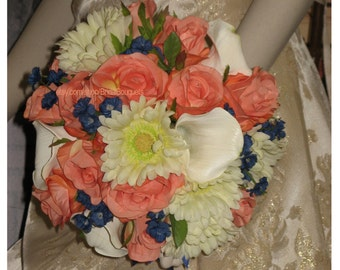 Navy and Coral Reef Bridal Bouquet Set, Coral Reef and Navy Wedding Flowers, Coral Navy Reef Bouquets