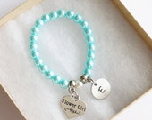 Flower Girl Bracelet, Personalized Initial Turquoise Bracelet, Children's Jewelry, Stretch Bracelet, Hand Stamped Circle Initial Heart Charm