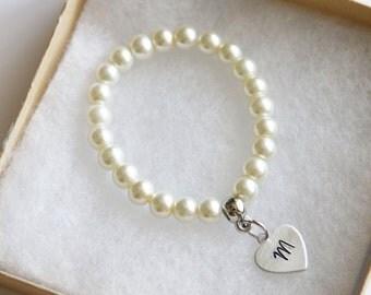 Cream White Pearl Flower Girl Bracelet, Personalized Initial  Bracelet, Children's Jewelry, Stretch Bracelet, Hand Stamped Heart Initial