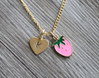 Strawberry Necklace Personalized Gold Tone, Personalized Initial Necklace, Strawberry Jewelry, Food Necklace Gift, Summer Gold Necklace