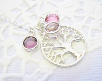 Grandmother's Necklace, Tree of Life, Birthstone Necklace, New Mom, Family Tree, Mother's Day Gift, Sterling Silver