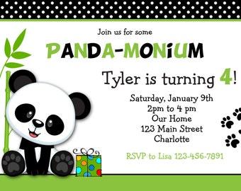 Panda Birthday Party Invitation Panda Bear Birthday Panda