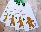 Christmas Gingerbread Man Tags Baked Goods Cookie Tag Holiday To From