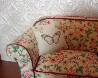 Dollhouse throw pillow French Country miniature butterfly 1:12 Scale