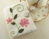 Tea Bag Travel Wallet Pink Rosemailing Design on White Linen