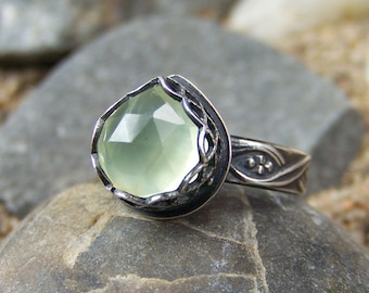 Morning Dewdrop Ring 10mm Heart Pear Rose Cut Prehnite in Heart Crown Bezel