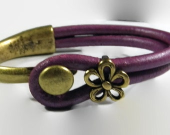 Purple Leather and Antique Gold Bracelet