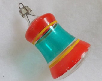 Vintage Christmas ornament unsilvered WWII ornament Premier glass bell ornament clear striped red green yellow