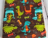 Ready to Ship // Michael Miller Dino Dudes Flananel Fabric with Orange Minky Security Blanket Lovey