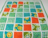 Ready to Ship // Moda A Stitch in Color Fabrics Baby Quilt backed with Blue Minky Cuddle