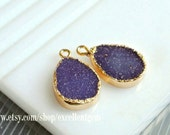1-10 Druzy Earring charm Druzy pendant 24k Gold Plated Druzy Agate Lead-free, nickel-free Jewelry making