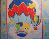 """Cotton Fabric - BABY Crib Quilt Panel - Hot Air Balloons with Teddy Bears and Bunnies on Blue - by the Panel 35"""" x 43"""""""
