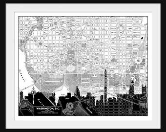 Washington DC  Map -  Washington DC Skyline - Print Poster - Vintage - Black and White