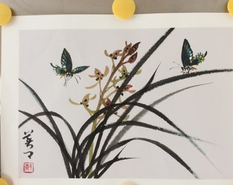 Original Watercolor Painting-Orchid and Butterflies