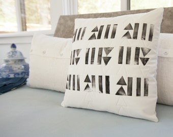 Tribal geometric handprinted and hand quilted throw pillow 17x17, toss pillow, home decor, desert home, unique home, black and white decor