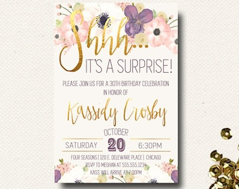 60th Birthday Invitations Surprise Party Invitation Birthday for Women 70th 80th 50th 90th 40th 30th