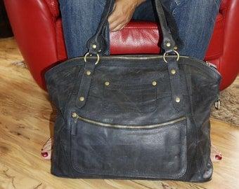 "ANTHRACITE Black Leather Tote Handbag // Weekender // Travel Bag // Cross-body Bag Magui bis xxl fits 17"" laptop"