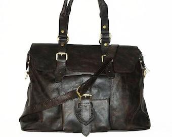 Distressed Genuine Leather Bag, Handbag, Tote, Shoulder Cross-body Purse Johanna L in vintage dark brown