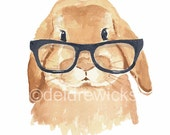Rabbit Watercolor Painting - Fine Art PRINT, Lop Eared Bunny, Hipster Glasses, Nursery Illustration