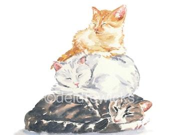 Cat Watercolor Painting PRINT - 5x7 Print, Cat Nap, Tabby Cat, Orange Tabby, Nursery Art