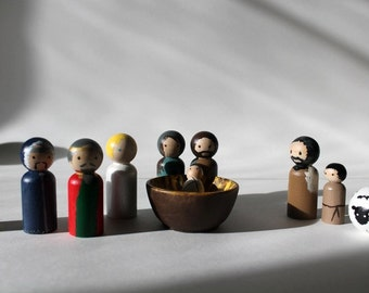 Peg Doll Nativity - Wooden Nativity Complete Set - Holy Family, Shepherds, Angel, Wise Men - Waldorf Nativity - MAKE TO ORDER