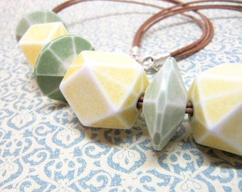 Lemon Lime Statement Necklace, Lemon Yellow Lime Green Leather Chunky Necklace, Beaded Necklace