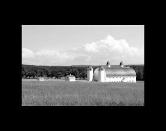 B&W-Fine Art Print-Rural Michigan-Barn Photography-Farm-Field-Silos-Rustic Wall Decor-DH Day Farm-Country Landscape-16x24-Farmhouse Chic