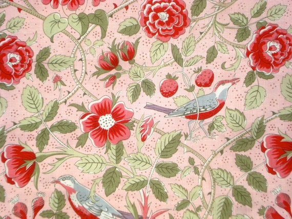 Pom Pom de Paris birds vines blooms pale pink French General moda fabrics FQ or yardage