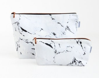 MARBLE bag // carrara white marble rose gold zipper wash bag toiletry bag make up bag case pouch with copper black by renna deluxe