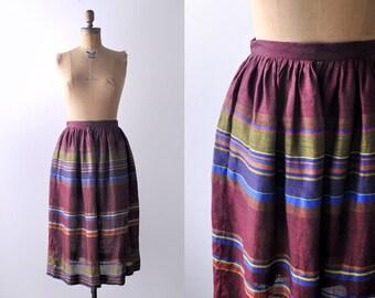 1970's boho striped skirt. medium. 70 red skirt. colorful stripes. ralph lauren. pleated.