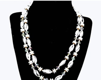 Black & White Necklace - Vintage Multi Strand Art Glass Jewellery