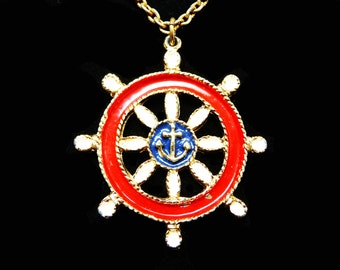 Ships Wheel Pendant Necklace - Red white and Blue Enamel - Vintage Nautical Jewelry