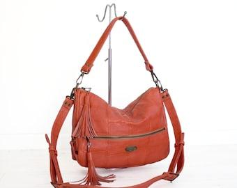 Croc Embossed Leather Tangerine Hobo Bag. Orange Shoulder Handbag. Crossbody Purse. Classy Work Bag. Comfy Slouchy Bag
