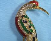BEAUTIFUL Estate Jewelry BIRD of Paradise PIN w/ Rhinestones & Enameled