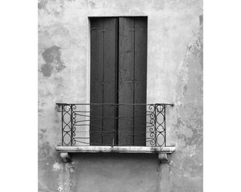"Fine Art Black & White Photography of Italy - ""Window and Balcony in Treviso"""