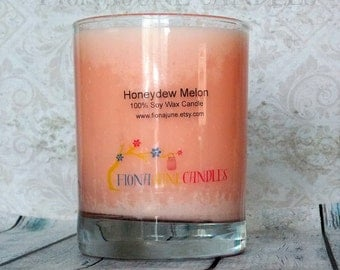 Pink Honeydew Melon Scented Soy Wax Candle, 12 oz Tumbler Jar Candle, Vegan Soy Candle