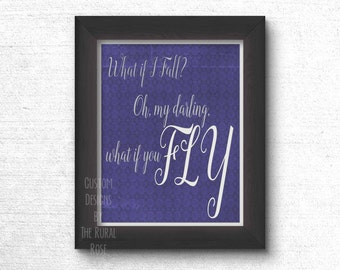 What if I Fall? Oh, My Darling, What If You Fly Digital Print. Inspirational. Baroque. Quote. Shower Gift. Surprise Gift. Nursery. School