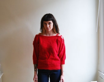 vintage 80's red angora sweater with cutout shoulder detail