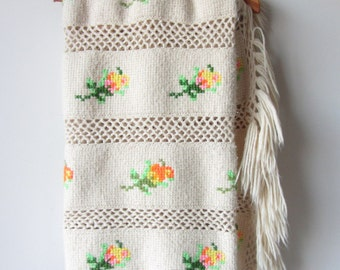 Vintage Cheerful Crochet Blanket Lovely Colors