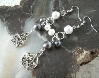 Pentacle Earrings, wiccan jewelry pagan jewelry wicca jewelry witch magic witchcraft pentagram gothic goddess pagan earrings wiccan earrings