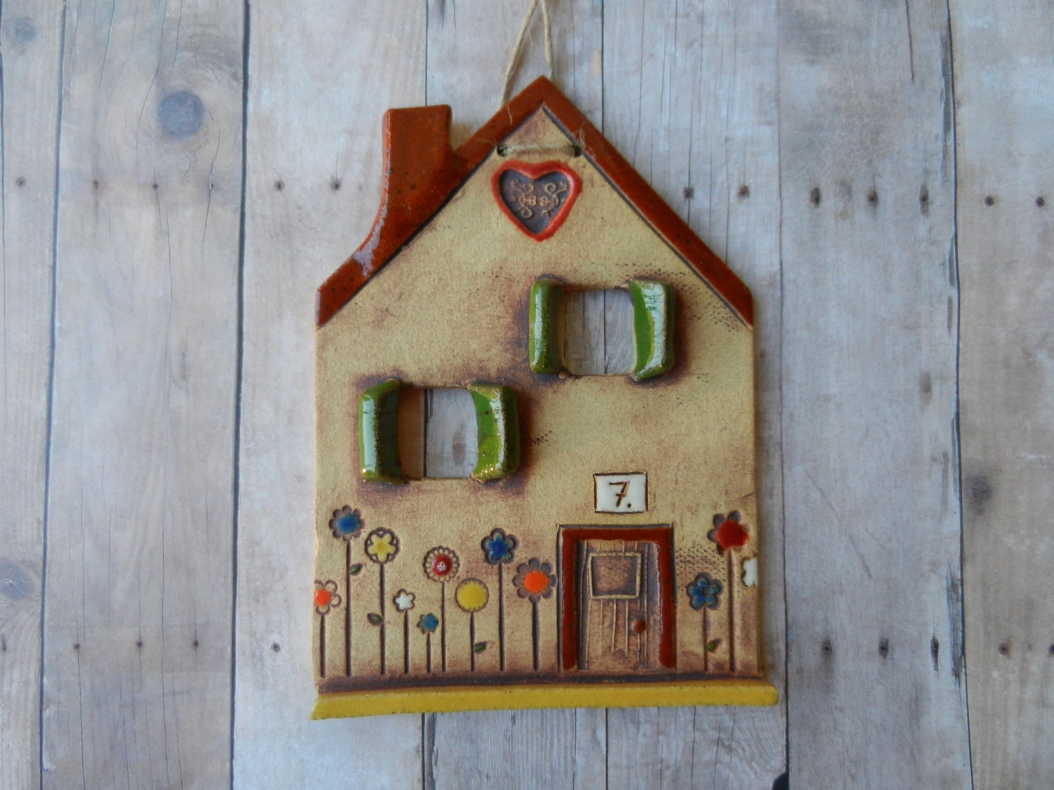 Ceramic House Wall Hanging Clay House Ornament Pottery