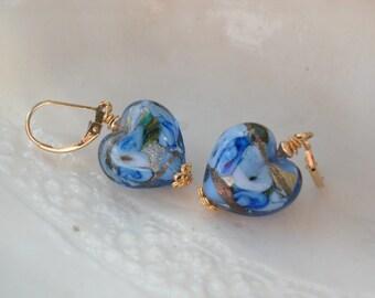 Blue Heart Leverback Earrings, Venetian Murano Glass