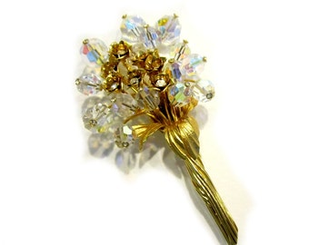 "Vintage Rhinestone Crystal Brooch Long Stem Flower Pin 3"" Large Gift for Mom Wedding Brooch Corsage Gift for Her Under 50"